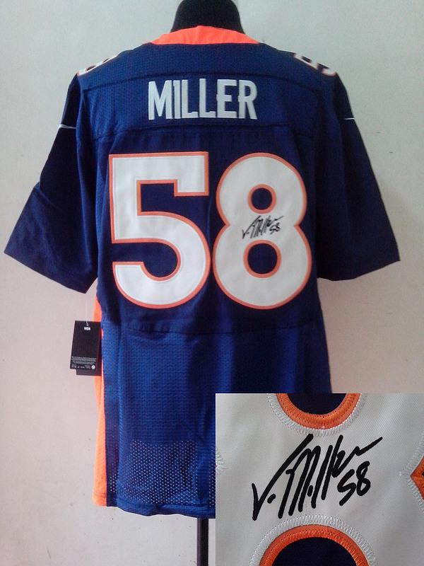 Denver Broncos 58 Von Miller Blue Nike Elite With player signed Jersey