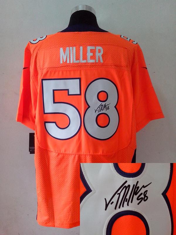 Denver Broncos 58 Von Miller Orange Nike Elite With player signed Jersey