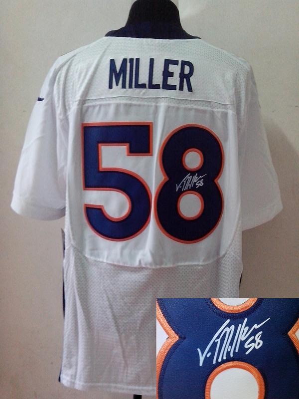 Denver Broncos 58 Von Miller White Nike Elite With player signed Jersey