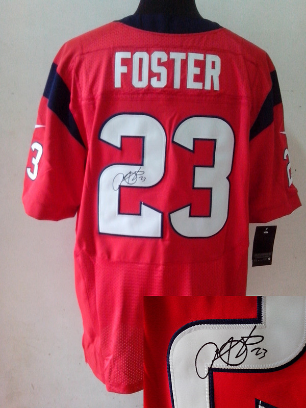 Houston Texans 23 Arian Foster Red Nike Elite With player signed Jersey