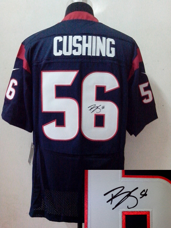 Houston Texans 56 Brian Cushing blue Nike Elite With player signed Jersey
