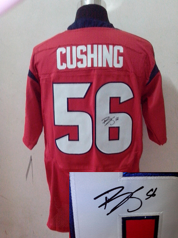 Houston Texans 56 Brian Cushing Red Nike Elite With player signed Jersey
