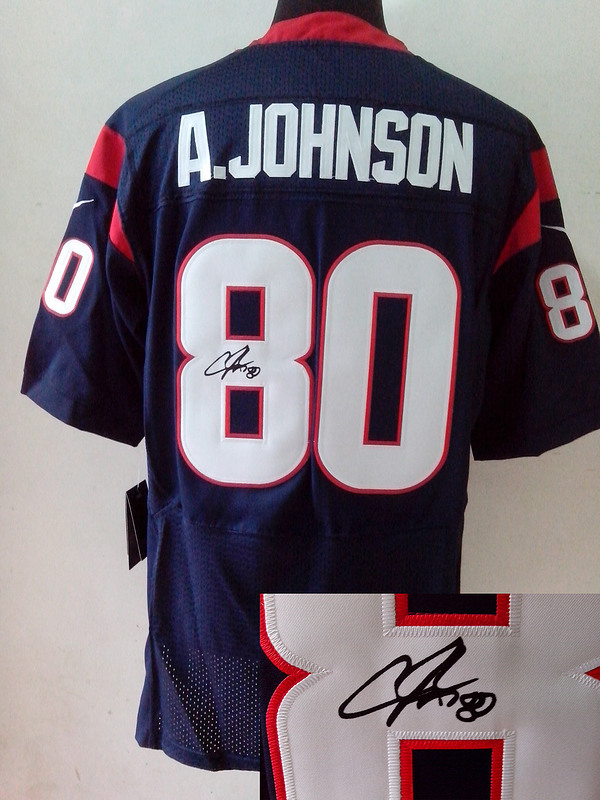 Houston Texans 80 Andre Johnson blue Nike Elite With player signed Jersey
