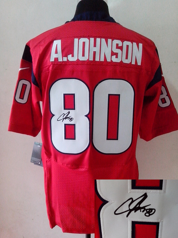 Houston Texans 80 Andre Johnson Red Nike Elite With player signed Jersey