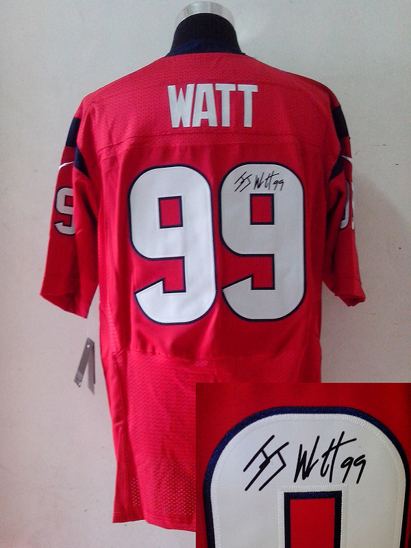 Houston Texans 99 J.J. Watt Red Nike Elite With player signed Jersey