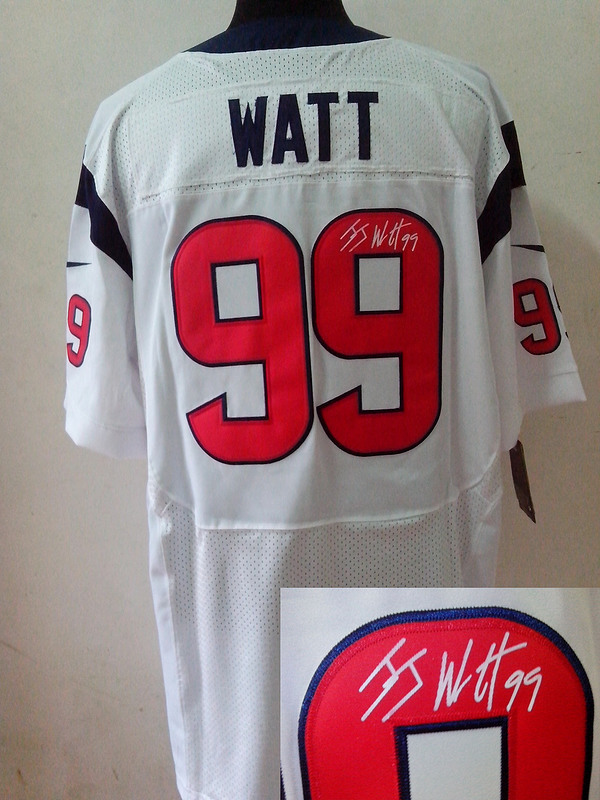 Houston Texans 99 J.J. Watt White Nike Elite With player signed Jersey