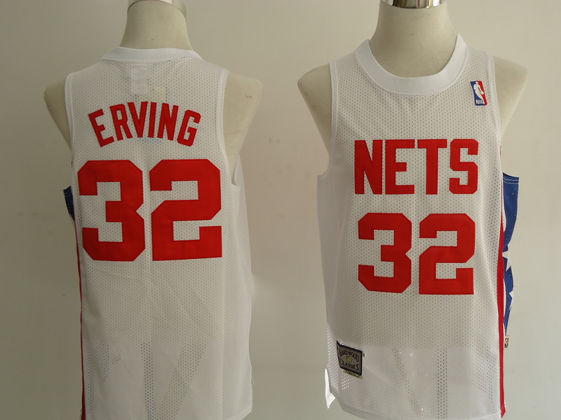NBA Brooklyn Nets 32 Erving white Jerseys