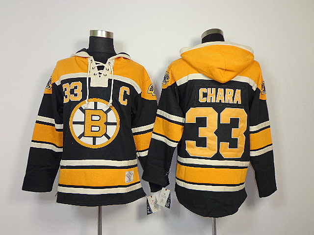 NHL Boston Bruins 33 Zdeno Chara Black Sawyer Lace Up Pullover Hooded Sweatshirt