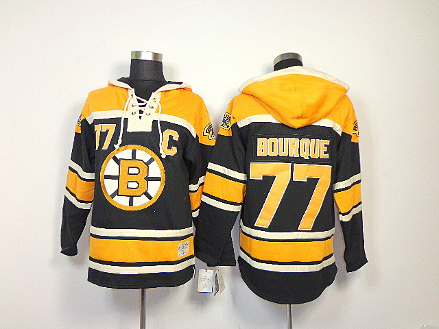 NHL Boston Bruins 77 Ray Bourque Black Sawyer Lace Up Pullover Hooded Sweatshirt