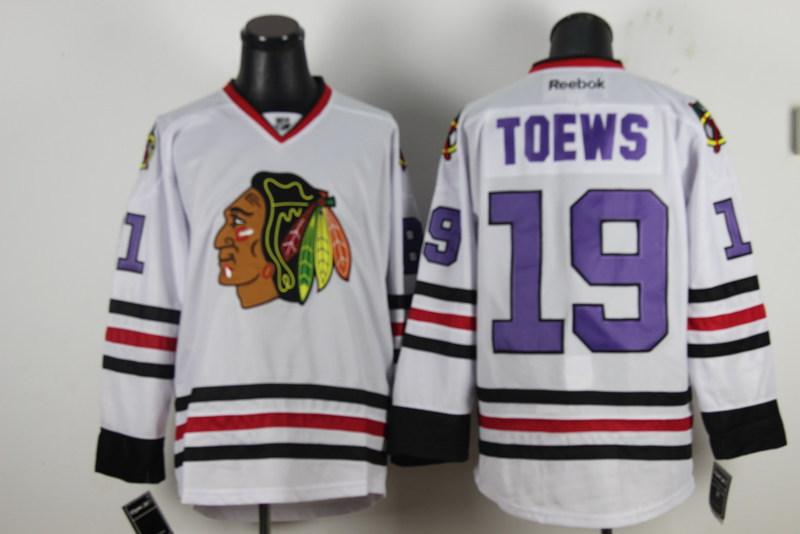 NHL Chicago Blackhawks 19 Jonathan Toews White Jersey