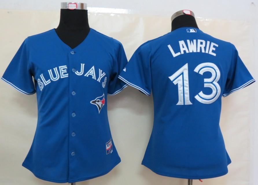 MLB Womens Toronto Blue Jays 13 Lawrie Blue Jersey