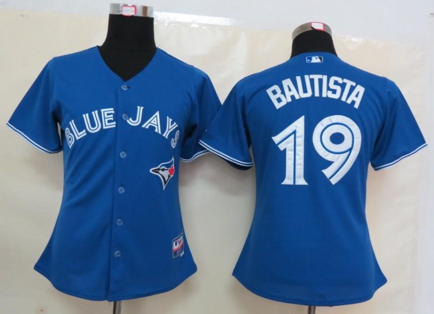 MLB Womens Toronto Blue Jays 19 Bautista Blue Jersey