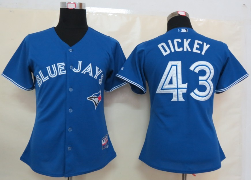 MLB Womens Toronto Blue Jays 43 Dickey Blue Jersey