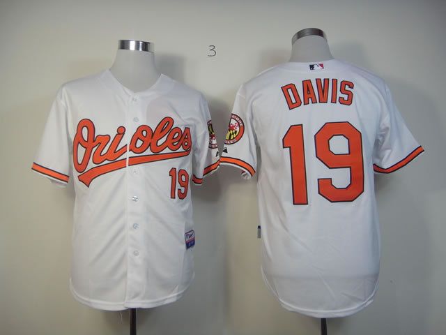 MLB Baltimore Orioles 19 Davis white jerseys