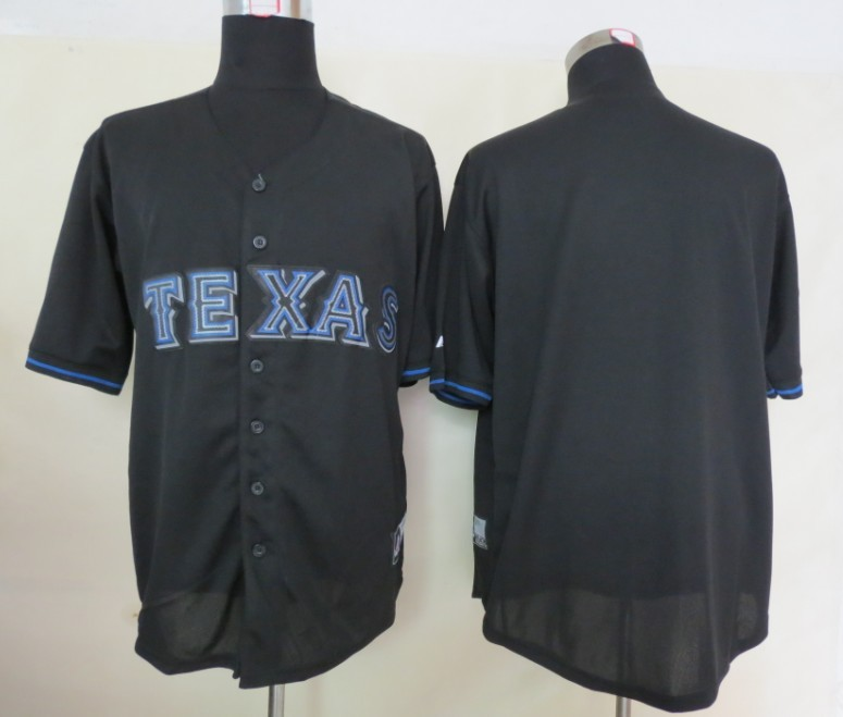 MLB Texas Rangers Blank Black Fashion Jerseys