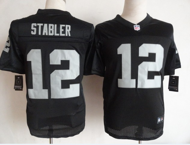 Oakland Raiders 12 Stabler black Nike Elite Jerseys