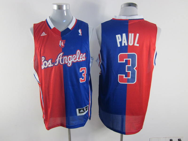 NBA Los Angeles Clippers 3 Paul blue and red Splitting Special Edition jersey