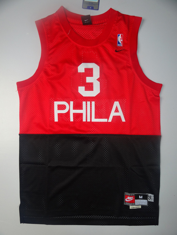 NBA Philadelphia 76ers 3 Allen Iverson Red Black