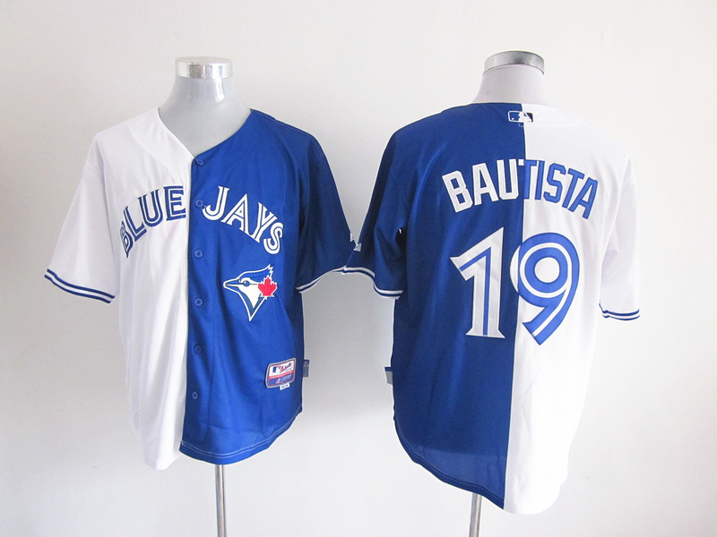 MLB Toronto Blue Jays 19 Jose Bautista Blue and white Splitting Special Edition jersey.jpg