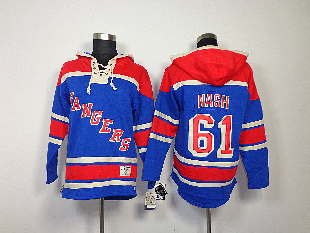 NHL New York Rangers 61 Rick Nash Light Blue Sawyer Lace Up Pullover Hooded Sweatshirt