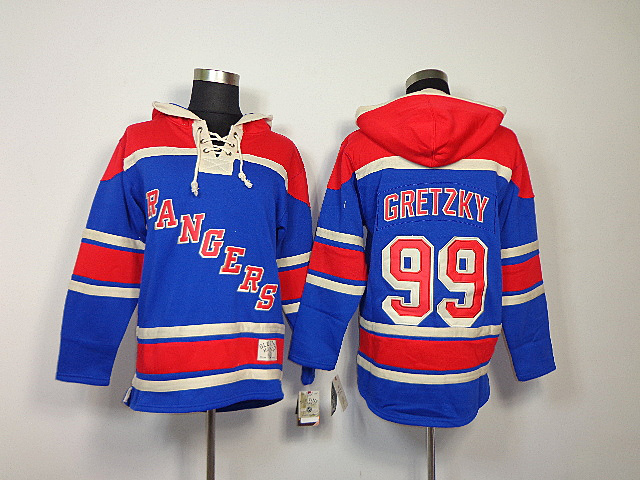 NHL New York Rangers 99 Wayne Gretzky Light Blue Sawyer Lace Up Pullover Hooded Sweatshirt