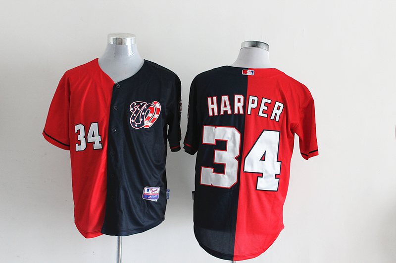 MLB Washington Nationals 34 Harper Dark blue and red Splitting Special Edition jersey