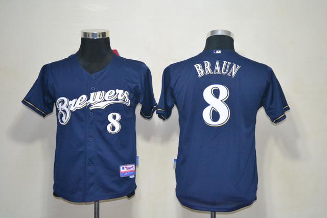 MLB Youth Jerseys Milwaukee Brewers 8 Braun Dark Blue