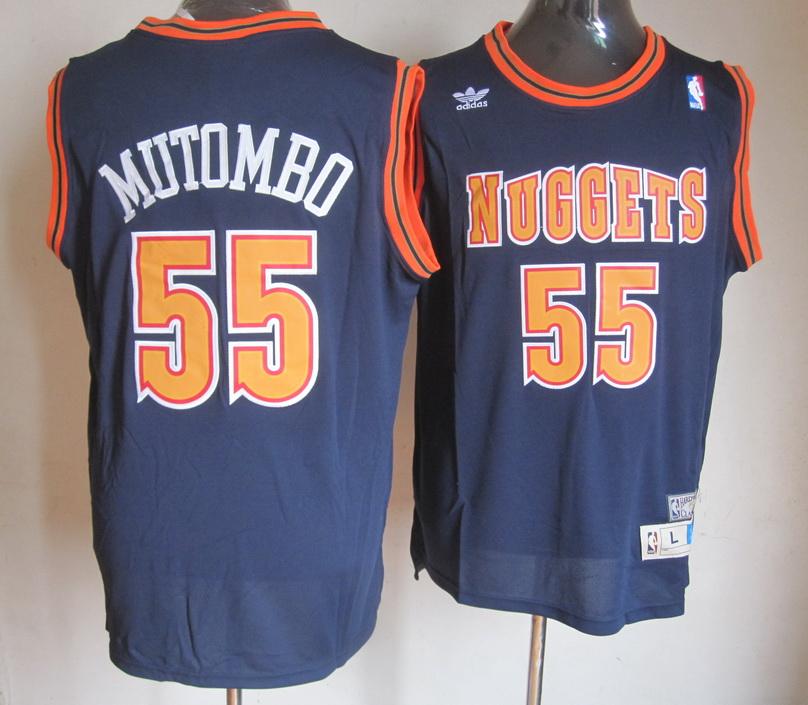 NBA Denver Nuggets 55 Dikembe Mutombo Blue Jersey