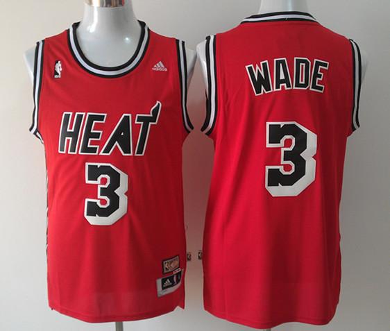 NBA Miami Heat 3 Dwyane Wade Red Jersey
