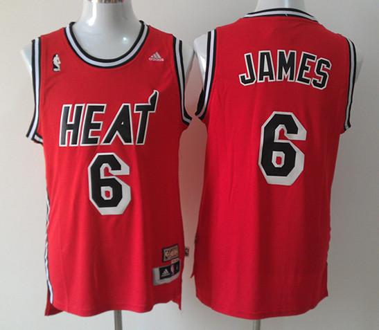 NBA Miami Heat 6 Lebron James Red Jersey
