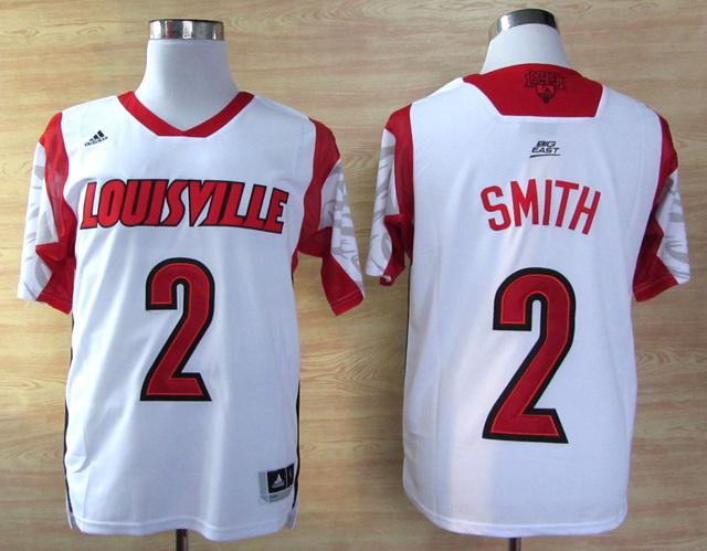 NBA NCAA adidas Louisville Cardinals 2013 March Madness 2 Russ Smith White Jersey
