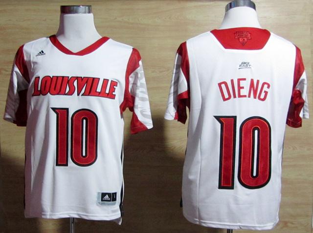 NBA NCAA adidas Louisville Cardinals 2013 March Madness 10 Gorgui Dieng White Jersey