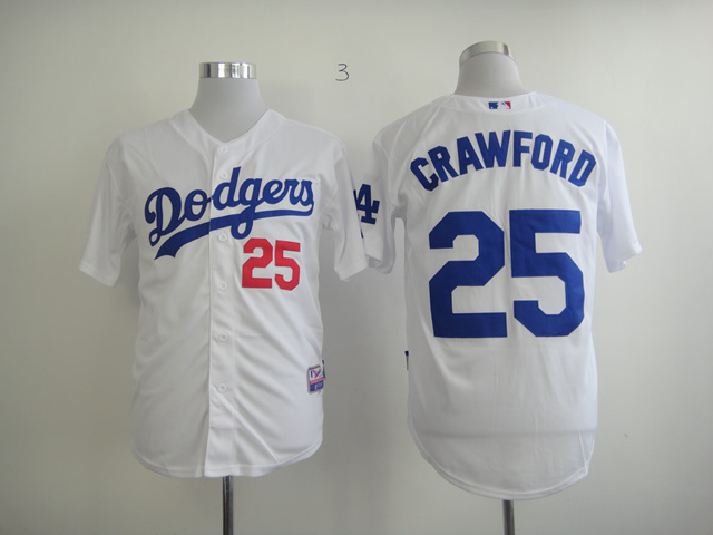 MLB Los Angeles Dodgers 25 Crawford White Jerseys