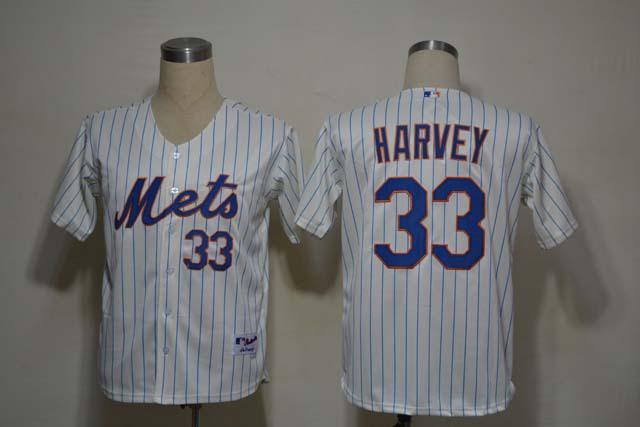 MLB New York Mets 33 Matt Harvey Cream blue strip Jerseys