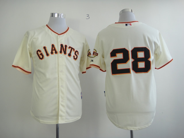 MLB San Francisco Giants 28 Buster Posey Cream Jersey