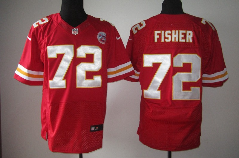 Kansas City Chiefs 72 Eric Fisher Red Nike Elite Jersey