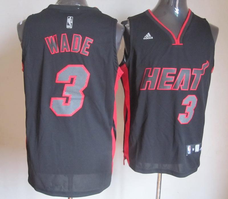 NBA Miami Heat 3 Dwyane Wade Black With Grey Number Jersey