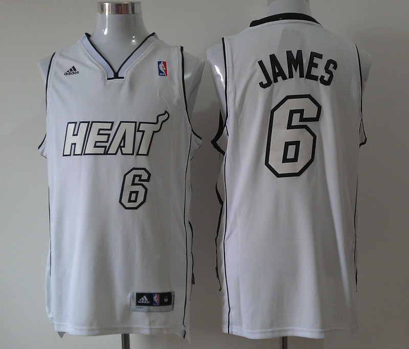 NBA Miami Heat 6 Lebron James White Jersey