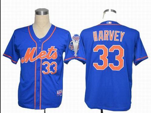 New York Mets 33 Matt Harvey home blue Cool Base Jersey w2013 All-Star Patch