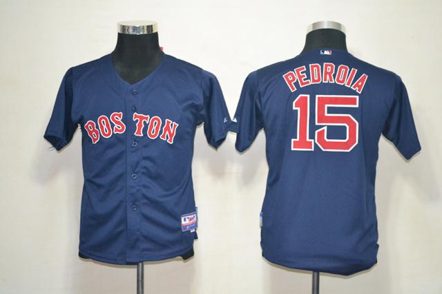 MLB Youth Jerseys Boston Red Sox 15 Pedroia Dark Blue