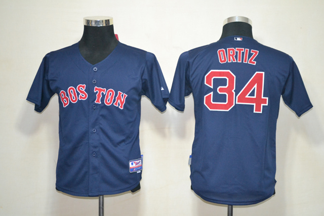 MLB Youth Jerseys Boston Red Sox 34 Ortiz Dark Blue