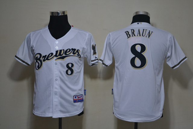 MLB Youth Jerseys Milwaukee Brewers 8 Braun White