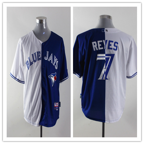 MLB Toronto Blue Jays 7 Reyes white and blue Splitting Special Edition jersey