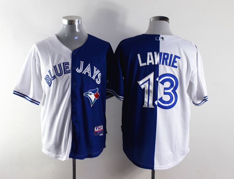 MLB Toronto Blue Jays 13 Lawrie white and blue Splitting Special Edition jersey