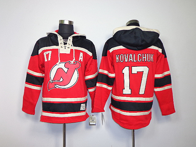 NHL New Jersey Devils 17 Ilya Kovalchuk Red Black Sawyer Lace Up Pullover Hooded Sweatshirt