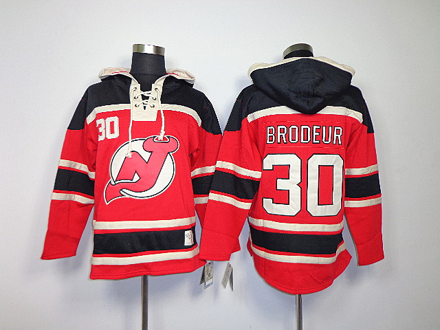 NHL New Jersey Devils 30 Martin Brodeur Red Black Sawyer Lace Up Pullover Hooded Sweatshirt