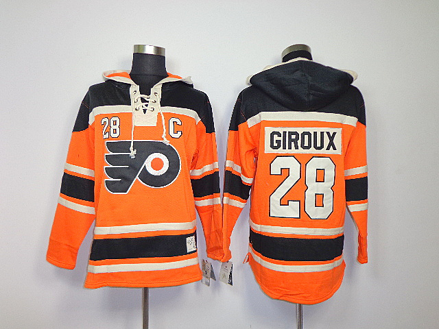 NHL Philadelphia Flyers 28 Claude Giroux Orange Sawyer Lace Up Pullover Hooded Sweatshirt