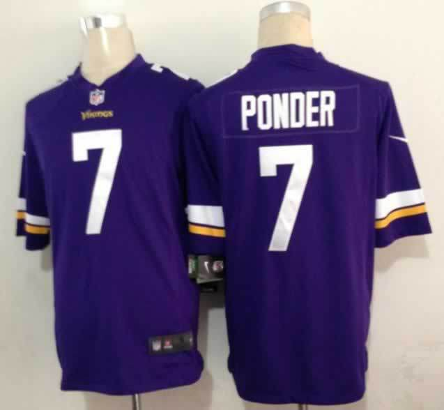 Minnesota Vikings 7 Christian Ponder Purple Nike Game1 Jerseys