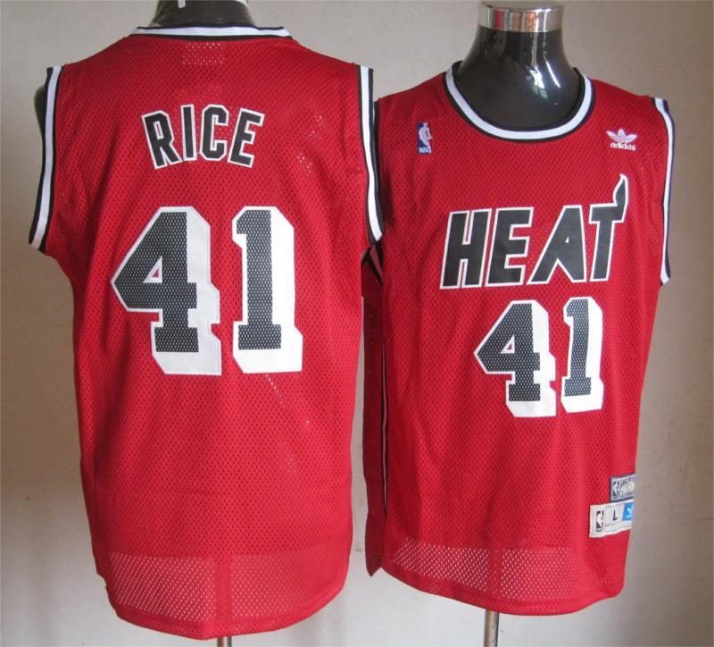 NBA Miami Heat 41 Rice red Swingman Jersey
