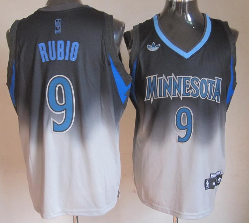 NBA Minnesota Timberwolves 9 Ricky Rubio Black Grey Jerseys